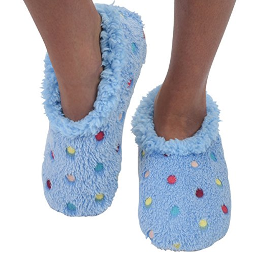 Snoozies Slippers for Women | Lotsa Dots Colorful Cozy Sherpa Slipper Socks | Womens House Slippers | Cozy Slippers for Women | Fuzzy Slippers | Blue | Large