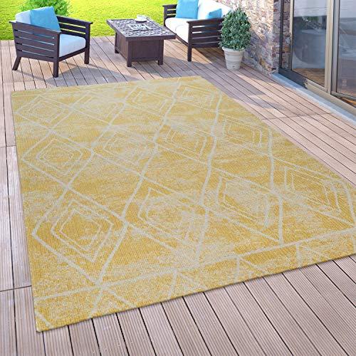 Paco Home Outdoor Teppich Balkon Terrasse Vintage Küchenteppich Orient Muster Rauten Ethno, Grösse:160x220 cm, Farbe:Gelb 2