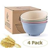 Old Tjikko Unbreakable Large Cereal Bowls,Set of 4 Snack Bowls,Soup Bowl/Dessert Bowl/Serving Bowl,Eco-Friendly Safe Kitchen Bowl for Children Adult Support (24OZ)