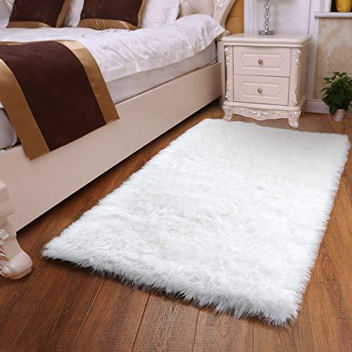 YOH Luxury Soft Fluffy Bedroom Rugs - Comfy White Faux Sheepskin Fur Area Rug, Nonslip Plush Home Decor Shag Rug Floor Furry Carpet for Sofa Living Room Nursery Girls Princess Room, 3x5 Feet