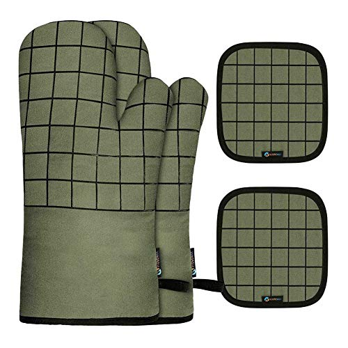 ARTIFUN Oven Mitts w/Pot Holders 4Pcs Set- 550°F High Heat Resistant Oven Mitts with Non-Slip...