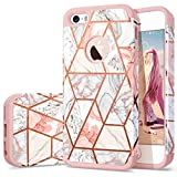 Fingic iPhone 5s Case, iPhone 5 Case, iPhone SE Case Rose Gold Marble Design Glitter Bumper Hybrid Hard PC Soft Rubber Silicone Anti-Scratch Shockproof Protective Case Cover for Apple iPhone SE/5S/5