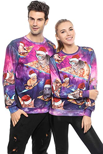 Unisex Funny 3D Print Ugly Christmas Sweater Party Round Neck Long Sleeve Xmas Pullover Sweatshirt for Men Women (Purple, M)
