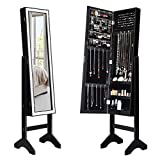 Giantex Mirrored Jewelry Cabinet Armoire with Mirror w/Resin Diamond Design Standing Storage Organizer Box with Full-Length Mirror, Earring Slots Holes, Necklace Hooks, Storage Shelves, Black