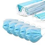 50 Masken Maske Gesichtsmaske 3-lagig Mund Nasen Einweg Mundbedeckung Behelfsmaske 17 (Einheitsgröße, 50x Blau)