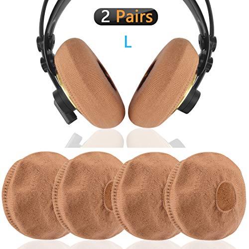 Geekria Sweater Cover voor Sennheiser HD820, HD800S, HD800, HD700, HD650, HD600, HD380 Headphones/Stretchable Gebreide stof oordopjes Protectors/Past 4.33-5.51 inch Headset Kussens (bruin)