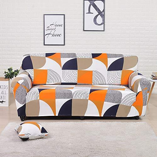 MKQB Funda de sofá de Sala de Estar, Funda de sofá de combinación geométrica elástica, Funda de sofá de Esquina Impresa, Antideslizante y Lavable NO.17 4seat-XL- (235-300cm)