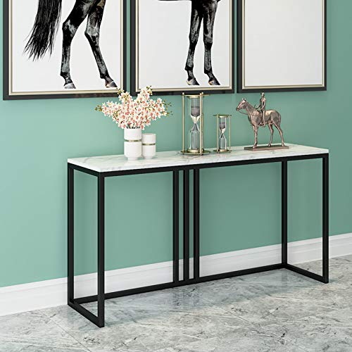 Dining Tables, Living Room Corridor Console Table, Stable Durable White Console Tables Black And Gold Bracket Wrought Iron Side Tables(Size:80 * 30 * 80CM,Color:black)