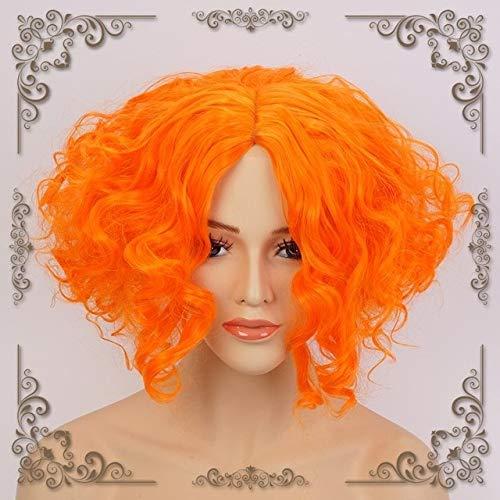 Alicia en el traje de cosplay peluca de Brown de la manera Mad Hatter Tarrant Hightopp Naranja corto y rizado Moda pelucas Cap peluca de la manera como la imagen + WTZ012
