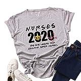 Enfermeras 2020 se convirtió en súper héroes carta gráfica de impresión de las mujeres casual camiseta de manga corta verano tops camiseta