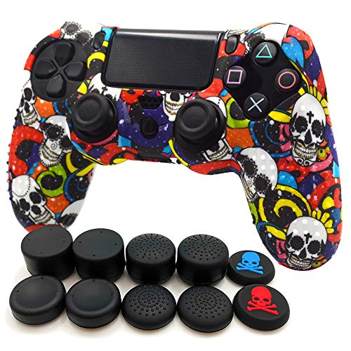 FOTTCZ Anti-Slip Silicone with Dots on Hand Grip Skin Set, Protect for PlaySation 4 Controller (Alias Wireless DualShock 4), which 1pcs Controller Skin + 8pcs Thumb Grip Caps - Diamond Skull