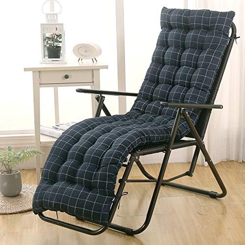 Patio Recliner Seat Cushion,Chair Lounger Cushion,High Back Folding Rocking Chair Cushion,Removable Dining Garden Chair Pad Blue Grid 48x155cm(19x61inch)