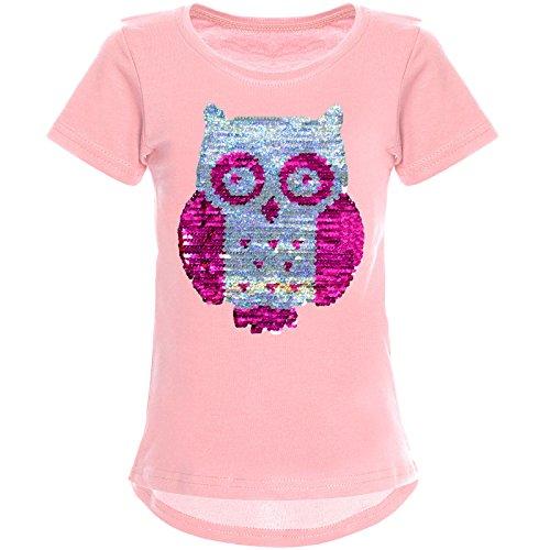 BEZLIT Mädchen Wende-Pailletten T-Shirt Tollen Eulen Motiv 22031 Rosa Größe 164