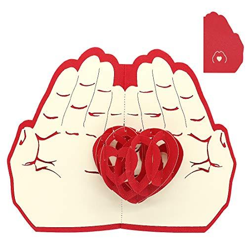 Tarjetas de felicitación 3D emergentes, tarjetas de regalos creativas para cumpleaños, día de la madre, aniversario de matrimonio, amantes (corazón)