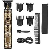 Cortapelos inalámbricos para hombre, maquinilla de afeitar eléctrica profesional para barba, máquina de afeitar, corte de pelo, lobo (dorado)