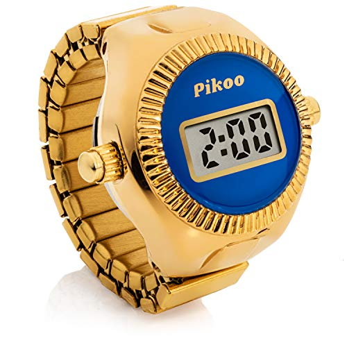 Pikoo: Unisex Digital Ring Watch w/Made in Japan Movement, One Size Fits All - Frosty Blue