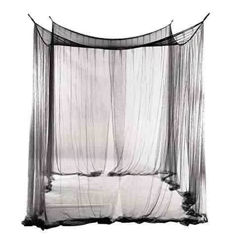 PETSOLA 4 Poste De La Esquina Cama con Dosel Drape Netting Mosquitera Ropa De Cama Decoración para El Verano - Negro, 210x190x24cm