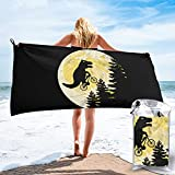 mengmeng Toalla de secado rápido con diseño de dinosaurios Moon T-Rex para deportes, gimnasio, viajes, yoga, camping, natación, súper absorbente, compacta, ligera, para playa, toalla de playa