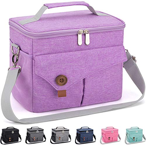 Reusable Lunch Bag with Detachable Shoulder Strap Leak-proof Lunch Box for OfficeSchoolPicnicBeach Large Capacity Cooler Tote Bag for KidsAdult light purple