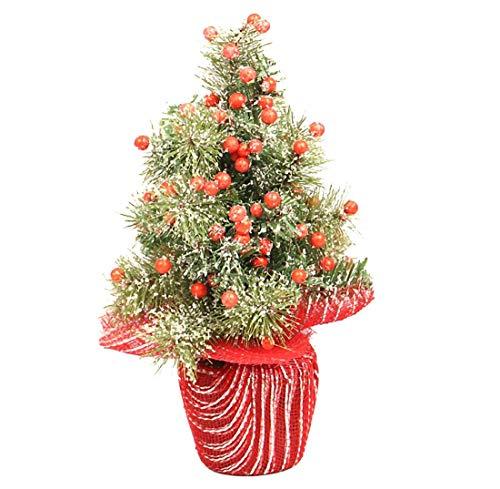 NLRHH Weihnachtsbaum Mini Simulation Dünne Schnee Rot Früchte Grün Pflanze Weihnachten bloße Baum Topf Ons Weihnachten Tag Zimmer Desktop Requisiten Ornamente 50 cm Green DIY (Größe: 50 cm) Peng