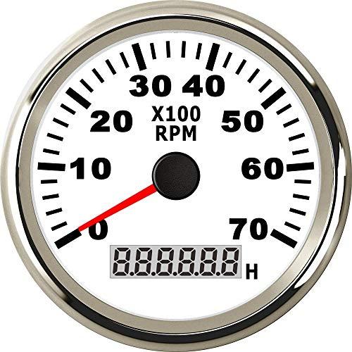 WY-YAN Calibre 85 mm Universal Marina tacómetro del Coche del Carro del Barco Tacho con cronómetro Sensor Tacho Impermeable 0-7000RPM (Color : WS)