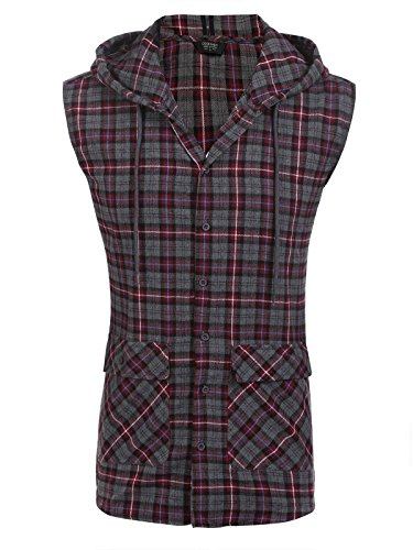 COOFANDY Mens Casual Vest Hoodie Flannel Hipster Button Down Plaid Sleeveless Hoodie