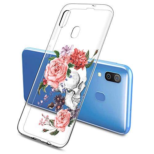 Suhctup Transparent Coque Compatible pour Samsung Galaxy A20E,Etui en Silicone TPU Gel Souple Ultra Fin Fleur Dessin Clear Case Anti Choc Protection Housse pour Samsung Galaxy A20E(Fleur 8)