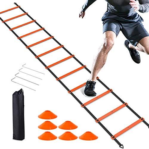Scala Agilità Scaletta per Allenamento,Scala di Allenamento per la velocità,scaletta allenamento,12 pioli da6 m,Contiene 6 Coni da Allenamento,Attrezzatura da Allenamento per l\'agilità del Calcio
