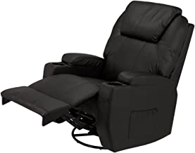 Homegear Recliner Chair with 8 Point Electric Massage and Heat (Black)