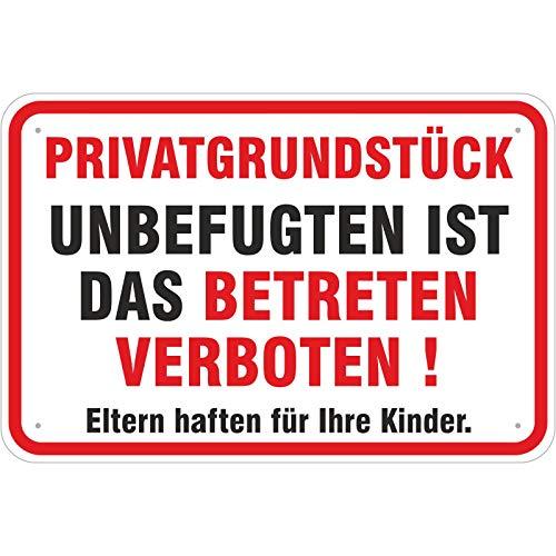 Schild Privatgrundstück ! Unbefugten ist das Betreten verboten! 200 x 300 mm aus Aluminium-Verbundmaterial 3mm stark