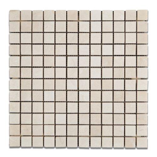 "White Pearl / Botticino Marble 1 X 1 Polished Mosaic Tile - 6"" X 6"" Sample"