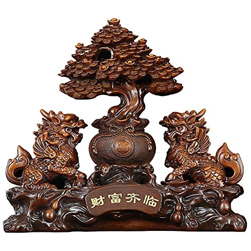 ZDZDQQ Feng Shui Baum Statue Harz...