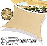SUNDUXY Toldo Vela de Sombra Parasol Rectangular HDPE Transpirable Prevención Rayos UV Solar Resistente y Transpirable para Jardín, Exteriores(con Kit de herrajes),2.5x6m