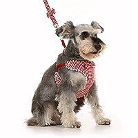 nikka(日華)ハーネス リード セット 犬 リボン 千鳥格子 胸あて式 ソフト レッド 2号 犬用ハーネス