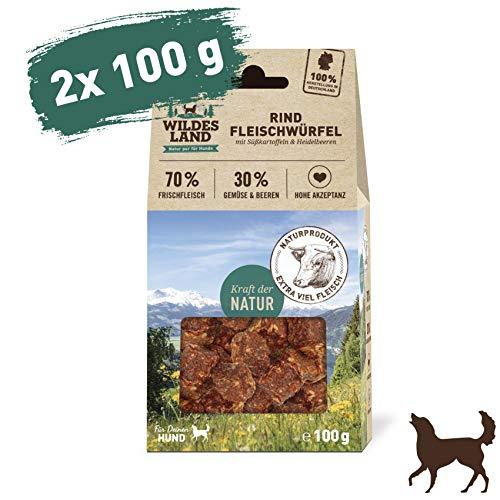Wildes Land - Fleischwürfel Rind - 200 g - Kausnack für Hunde - 70% Frischfleisch - 30% Gemüse & Beeren - Natürlich belohnen - getreidefrei - Hohe Akzeptanz - Frisches, schonend getrocknetes Fleisch