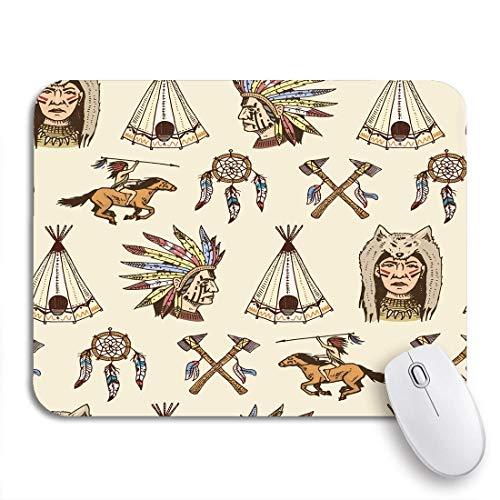 Gaming mouse pad äxte indianischer ureinwohner und zelt dreamcatcher cherokee tomahawk rutschfeste gummiunterlage computer mousepad für notebooks mausmatten