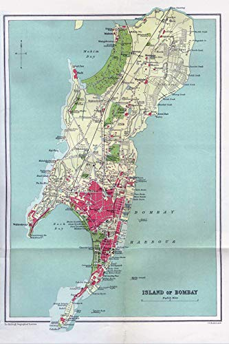 Vintage Map of Bombay, India from 1909 Photo Print Poster Unique Gift Old Ancient Historic // Size: A4 (210 x 297 mm)