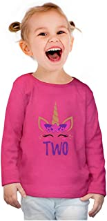 Birthday Gift 2 Year Old Girl Unicorn Toddler Girls Fitted Long Sleeve T-Shirt