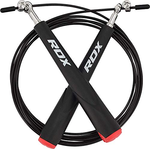 RDX Springseil Einstellbar PVC Gym Springen Geschwindigkeit verlieren Gewicht Gym Fitness MMA Boxen springen Metallkabel Übung Metallkabel Workout (MEHRWEG)