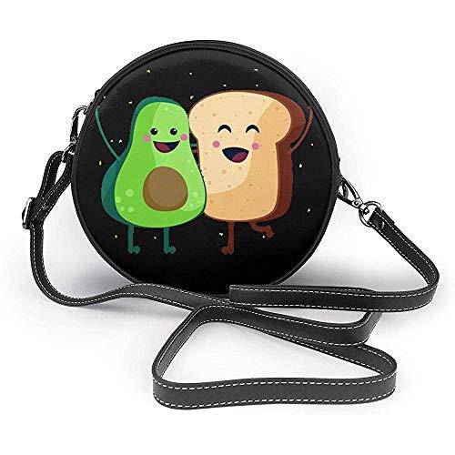 TURFED Toast und Avocado Runde Umhängetasche Frauen PU Umhängetasche Kreis Geldbörse Umhängetasche mit verstellbaren Trägern