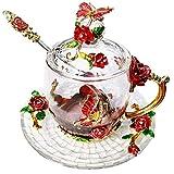 Orchid Crystal Teacup Coffee Mug Lid Spoon Saucer Unusual Birthday Grandma Mum Tealover Gift Christmas Home Decoration(Red Short)