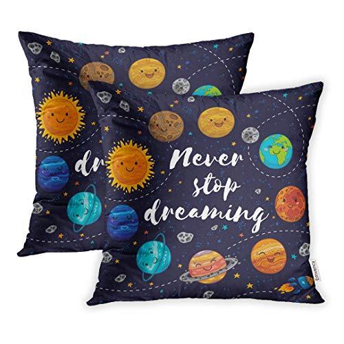 koniqiwa – Funda de cojín decorativo, no dejes de soñar, con planetas muy bonitas, luna y barco espacial que comienza y cometa