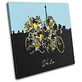 Bold Bloc Design - Cycling Tour de France Bike Velo Sports 40x40cm Single Caja de Lamina de Arte Lienzo Enmarcado Foto del Colgante de Pared Listo para Colgar Canvas Print RC-9060(00B)-SG11-LO-A