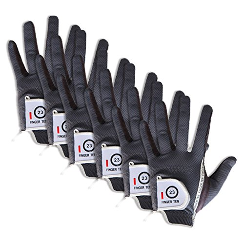 FINGER TEN Golfhandschuh Herren Links Rechts 6 Stück (Not Paar) Allwetter Mikrofaser Rain Grip Golf Handschuh Linke Rechte Hand Weicher Komfort Passform Größe S M ML L XL(Grau M/L Links