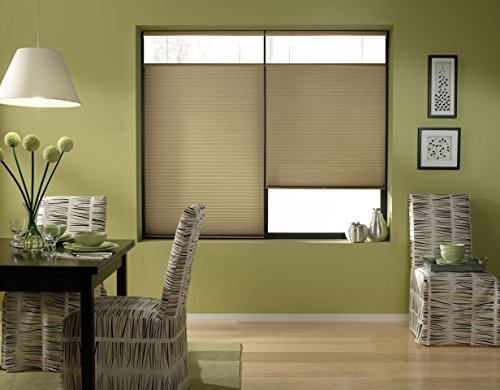 Windowsandgarden Cordless Top Down Bottom Up Cellular Honeycomb Shades, 19W x 36H, Amber, Sizes 18-38 Inches Wide