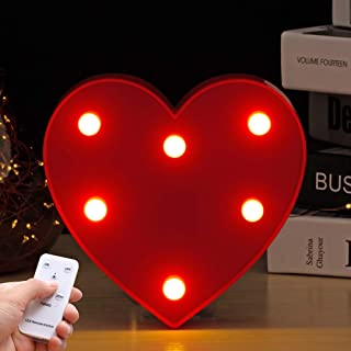 Youzone LED Marquee Letter Lights Alphabet Light Up Sign with Remote Control Timer Dimmable (Heart)