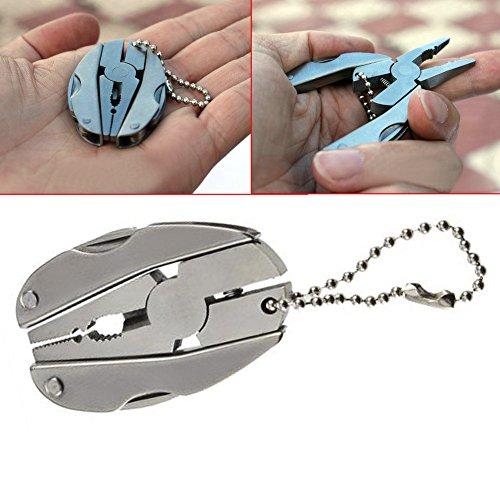 Ebilun extérieur Mini pliable multifonction Outil de poche porte-clés Tortue Pince pour la pêche, survie, le camping, la chasse et la randonnée