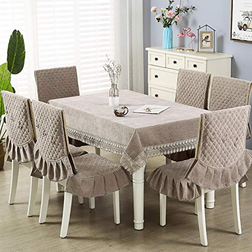 QTQHOME Ablecloth,Rectangle Table Cloth Chenille Linen Wrinkle Free Anti-Fading Tablecloths Washable Embroidery Table Cover for Kitchen Dinning Party