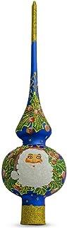 BestPysanky Santa Head and Mistletoe Wreath on Blue Glass Christmas Tree Topper 11 Inches
