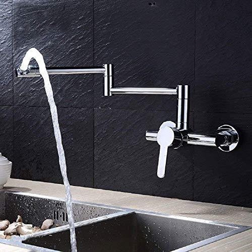 Creativo, moderno, giratorio de 360 °, cromado, todo cobre, cocina, mezclador, grifo, tríptico, plegable, montado en la pared, grifo, agua fría caliente, grifo, doble junta, latón macizo, lavabo, m